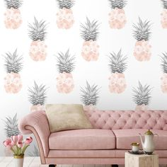 Floral Pineapple Feature Wallpaper in Blush pink by Woodchip & Magnolia