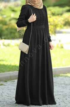 Elegant black…want this one – Beauty Shares Burqa Designs, Abaya Designs, Abaya Fashion, Modest Fashion, Fashion Dresses, Muslim Women Fashion, Islamic Fashion, Modest Dresses, Modest Outfits