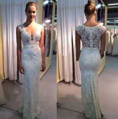 Ivory V Neck Mermaid Long Lace Prom Dresses, PM0132