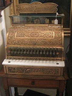 ANTIQUE National Cash Register, Ornate Brass with original Top Sign