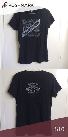 """Harley Davidson Shirt Cool alternative to a band tee shirt. Harley Davidson women's size Large. Blue and gray graphic logo on front back says """"Appalachian Mechanicsburg, PA"""" soft cotton material crew neck Harley-Davidson Tops Tees - Short Sleeve"""