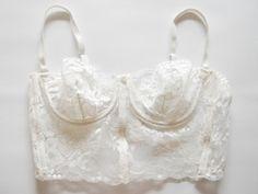 Reserved for LC Mulder vintage white lace / bralette / bra / bustier / lingerie / Pretty Lingerie, Bridal Lingerie, Beautiful Lingerie, White Lingerie, Belle Lingerie, White Lace Bralette, Lace Bustier, Lace Corset, Underwear