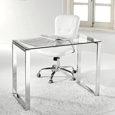 Escritorio, mesa ordenador, estudio, oficina, despacho. Cristal y pata cromada de acero - http://vivahogar.net/oferta/escritorio-mesa-ordenador-estudio-oficina-despacho-cristal-y-pata-cromada-de-acero/ -