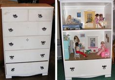 diy doll house...love the dresser idea to keep the dolls and stuff in the bottom drawer.