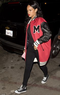 Rihanna is relatively demure in high-waisted bikini Letterman Jacket Outfit, Jester Outfit, Casual Cosplay, Rihanna Fenty, Club Outfits, Sexy Bikini, Her Style, Street Wear, Bikinis