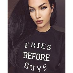 "@nataliehalcro's photo: ""This sweat shirt from @bitnbclothing is everything lol My motto BEFORE! #BRUNETTEisthenewblack #bitnbclothing #friesbeforeguys"""