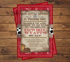 Cowboy Birthday Invitation by RaynebowShoppe on Etsy, $1.00 Custom Birthday Invitations, Invites, Little Cowboy, Cowboy Birthday, All Design, Big Day, First Birthdays, Rsvp, Birthday Ideas