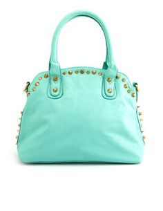 Studded Faux Leather Satchel Bag: Charlotte Russe  I'm not into purses, but this is cute.