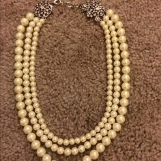 Banana Republic Faux Pearl Necklace Lovely triple strand faux pearl necklace from Banana Republic.  Decorative and pretty clasp at the back so it looks good from every angle! Banana Republic Jewelry Necklaces