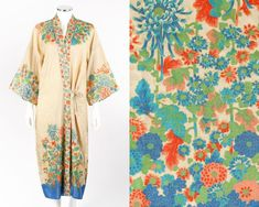 Vtg COUTURE c1920s Beige Pongee Silk Multicolor Floral Kimono Dressing Gown Robe
