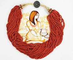 Original Art | Multistrand necklace | Gypsy Necklace | Coral Orange | Retro Boho | Tribal Necklace | Statement Necklace | Bohemian…
