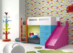 Design-Kinderzimmer-Hochbett-mit-Leiter-Rutsche-und-Kuschelecke-35-Farben