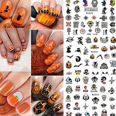 Coosa Halloween 12 sheets Trendy Creepy Nail Art Decals Nail Stencil Sticker Sheets Decoration * You can get additional details at the image link. (This is an affiliate link) #NailArtAccessories