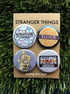 This four pack of Stranger Things Buttons (or Magnets) are for the biggest of fans!! I dont know about you... but this Netflix Series swept me off my feet. These pins reflect the shows main themes. From the bright yellow phone, Christmas lights, and Elevens love for Eggos, these pins