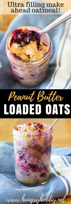 Warm bursting blueberries, drizzled with creamy peanut butter, and packed with protein, this is a bowl of oatmeal that will keep you full for hours! #oatmeal #hungryhobby #glutenfree #weightloss #healthybreakfast #makeaheadbreakfast #overnightoats #hungryhobby #healthy #peanutbutter