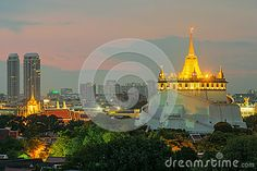 Złota góra Podróż punkt zwrotny Bangkok, Tajlandia  panorama