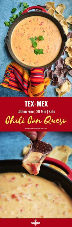 Ten ingredients and 20 minutes are all you need for this velvety, rich, and dangerously addictive Tex-Mex Chili Con Queso recipe. It's also gluten-free. Quick Appetizers, Easy Appetizer Recipes, Crockpot Recipes, Healthy Recipes, Free Recipes, Healthy Food, Delicious Recipes, Yummy Food, Chili Con Queso Recipe