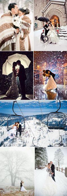 Snowy winter wedding photo inspiration