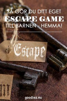 Så gör du ditt eget escape game till barnen. Behöver du lite vägledning och en lite puff för att komma loss och skapa ditt egna escape game till ett escape room hemma? Här hittar du bra vägledning och tips och tricks som gör att du lyckas enklare. Escape games är mycket populära lekar för barn framförallt på barnkalas. #escapegame #escape_game #escaperoom #barnkalas #kalas #goodies Exit Games, Escape Room, Escape Games, Diys, Goodies, Sweet Like Candy, Treats, Bricolage, Sweets