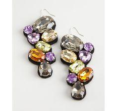 Adia Kibur purple multicolor stone cluster earrings