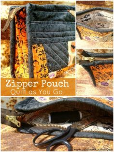 Zipper Pouch Tutorial using the quilt as you go techinque   patchwork posse #freepattern #zipperpouch #quiltasyougo