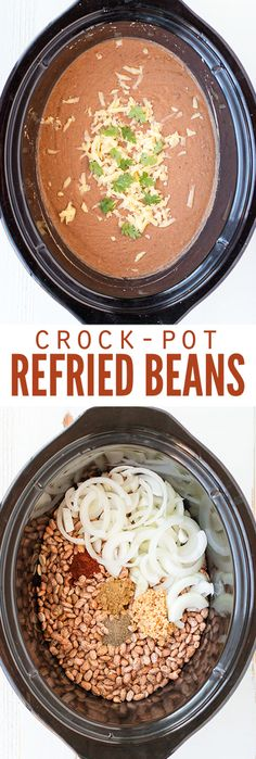 Burritos and bowls here I come! This homemade, healthy refried beans recipe shows how to make refried beans from scratch in the crockpot. The best part is this easy recipe tastes so authentic! Use dry or canned pinto beans, or make refried black beans for Crock Pot Slow Cooker, Crock Pot Cooking, Slow Cooker Recipes, Cooking Recipes, Skillet Recipes, Cooking Tools, Crock Pots, Casserole Recipes, Mexican Dishes