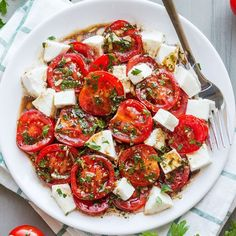 Marinated Tomatoes – Full of summer flavors these healthy tomatoes are soaked up with olive oil, balsamic vinegar and fresh herbs.