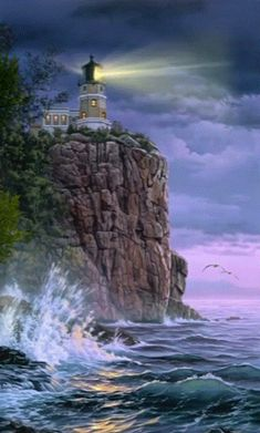 Keeping the Light — Darrell Bush Art - Malerei Kunst Split Rock Lighthouse, Blinded By The Light, Beautiful Places, Beautiful Pictures, Lighthouse Painting, Lighthouse Pictures, Lights Artist, Lighted Canvas, Beacon Of Light