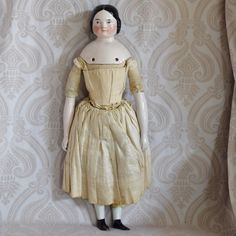 Covered Wagon Glazed Porcelain German China Head Doll by Kister White Cotton Blouse, Cotton Skirt, Old Dolls, Antique Dolls, Covered Wagon, China Dolls, Doll Maker, Wooden Dolls, Queen Victoria