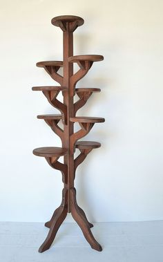 Vintage Tall Handmade Wooden Tiered Plant Stand - Flower Pot Stand