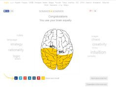 Are You Left Brained or Right Brained? - a fairly quick & short test. | my results (as i've known for a while), i'm split fairly evenly. | take the test yourself: http://en.sommer-sommer.com/braintest/
