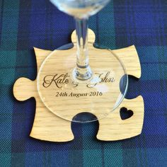 Wooden Jigsaw Puzzle Piece Wedding Table Coaster Personalised Favours for Guests - Pretty Personalised