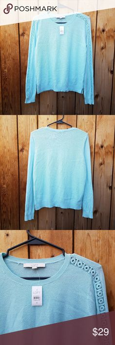 NWT LOFT Turquoise Crochet Sleeve Knit Top Excellent condition  Feel free to ask me any additional questions! Bundles of 3+ items are 15% off. No trades, or modeling. Happy Poshing! LOFT Tops