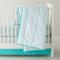 Baby Sheets: Aqua Diamond Crib Bedding in Crib Bedding Collections | The Land of Nod Jess - possibility if aqua in baby room. More information about this visit on to :-- http://www.sleepwellbaby.com/