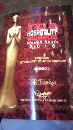 ‪#‎IndiaHospitialityawards‬ for emerging ‪#‎technology‬ solution provider to ‪#‎CRSTechnologies‬  ‪#‎WebCRS‬