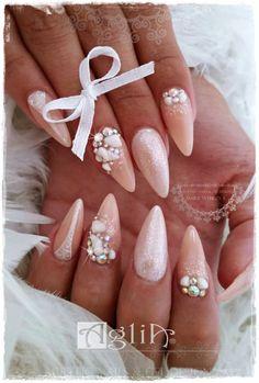 Acrylic nails & Gel design * Shell nails * Wedding nails