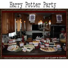 Harry Potter party, including free printables (cupcake toppers, food labels, banner)