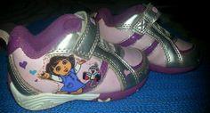 Toddler 5 Girl Dora the Explorer Pink Tennis Shoes flowers & butterflies velcro  #Nickelodeon #Athletic