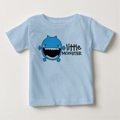 Little Blue Monster | Custom Baby Shirt - baby gifts child new born gift idea diy cyo special unique design