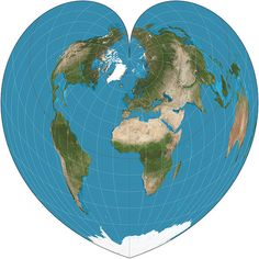 Werner Projection (Pseudoconical, Equal-Area) Created by Johannes Stabius, c. 1500 - Distances from the North Pole are correct as are the curved distances along parallels.