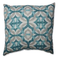 Shades of teal and sky blue interlock with gray on a background of cream, soothing the eye and subtly brightening a room. This quatrefoil geometric pattern would look elegant in a modern decor style, while its calming colors decorate a slub linen-like fab Buy Pillows, Floor Pillows, Accent Pillows, Shades Of Teal, Teal And Grey, Gray, Homemade Blush, Modern Throw Pillows, Colorful Throw Pillows