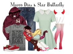"""Best Buddy Series: Marco Diaz & Star Butterfly"" by glitterbug152 ❤ liked on Polyvore featuring Levi's, Lavish Alice, Old Navy, Converse, women's clothing, women, female, woman, misses and juniors"