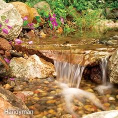 Build a Backyard Waterfall and Stream .Create a rippling, rock-lined stream with multiple waterfalls in your backyard. Use gravel and stone filters and a heavy-duty pump to reduce maintenance and maintain water clarity. Backyard Water Feature, Ponds Backyard, Backyard Landscaping, Waterfall Landscaping, Backyard Stream, Garden Stream, Backyard Waterfalls, Garden Ponds, Koi Ponds