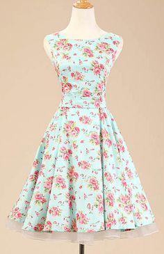Mint Floral Vintage Dress