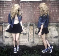 Jacket, American Apparel Circle Skirt, Converse Blue Shoes, Lace Bra Top, Sunglasses