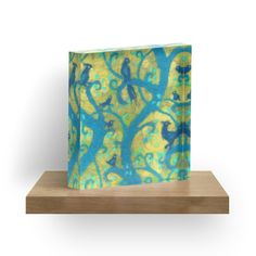 """Paradise garden, wool painting, blue birds, magic forest, fiber art, decorative"" Acrylic Blocks by clipsocallipso 