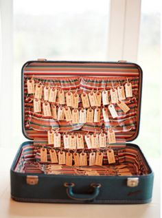 I think this escort card display could be cuter, but I like the suitcase idea.