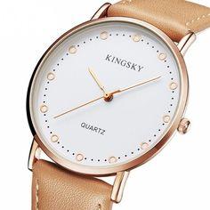 991335aeb53 Relógios Feminino Elegante Pulseira de Couro Marrom Mostrador Branco
