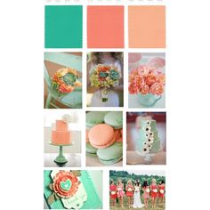 Mint, Peach and Melon Wedding by amadorevents, via Polyvore