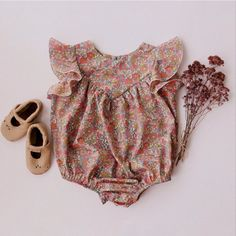 Handmade Heirlooms at Dannie and Lilou Bohemian Girls, Vintage Bohemian, Natural Clothing, Long Sleeve Romper, Playsuit, Boho Shorts, Daughter, Rompers, Children